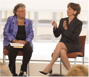 Susan Stautberg (left) interviews Marilyn Carlson Nelson at WomenCorporateDirectors' Family Business Governance Institute.